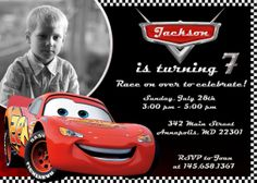 Disney Cars Lightning McQueen Birthday Party Invitation