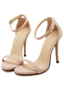 Nude Stiletto High Heel Ankle Strap Sandals US$30.33