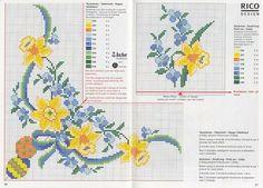 Cross Stitch Borders, Cross Stitch Flowers, Cross Stitch Designs, Cross Stitching, Cross Stitch Patterns, Embroidery Art, Cross Stitch Embroidery, Machine Embroidery, Rico Design