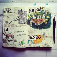 "Gorgeous sketchbook! The post says, ""It's hard to keep up with an illustrated journal/calendar, but totally worth it."" I agree!"
