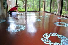 How to stencil a concrete floor! #DIY