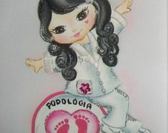 Pintura em tecido | jalecos personalizados | profissão | podologia | bonecas