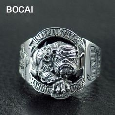 Usmc Ring, Marine Corps Rings, Military Jewelry, Unique Silver Rings, Handmade Rings, Sterling Silver Filigree, Size 10 Rings, Rings For Men, United States