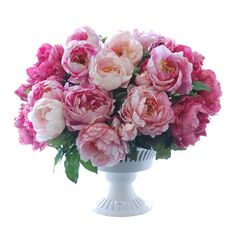 Handcrafted faux peony arrangement.  Product: Faux floral arrangementConstruction Material: Polyester, plastic a...
