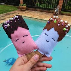 Ice Cream Felt Food Set – Pop-Up Market Online Pop Up Market, Decorative Beads, Felt Food, Gingerbread Cookies, Summer Fun, Tea Party, Kids Toys, Ice Cream, Christmas Ornaments