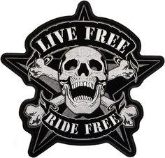 Live Free Skull Biker patch - Aufnäher Lebe Frei Totenkopf - chevron Viva Libremente Calavera - нашивка Живи Свободно Череп байкера
