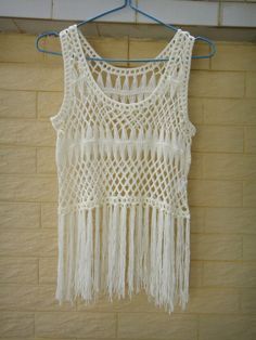Fringe Vest Crochet Crop Top Summer Beach by Tinacrochetstudio