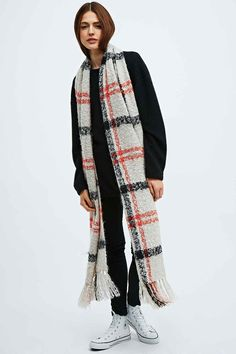 BDG Brushed Plaid Scarf in Cream - Urban Outfitters