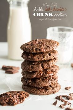 One Bowl Double Chocolate Chunk Cookies! Vegan, nut-free, gluten-free. Oh yeah!!
