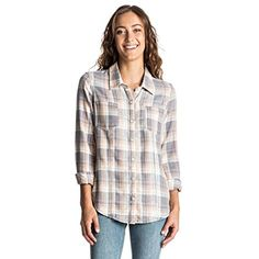 Roxy Juniors Sunday Funday Plaid Shirt Smoked Pearl Morgan Plaid Small * You can find more details by visiting the image link.