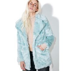Glamorous Candy Craving Faux Fur Coat featuring polyvore, women's fashion, clothing, outerwear, coats, imitation fur coats, faux fur coat, lapel coat, fake fur coats and blue coat