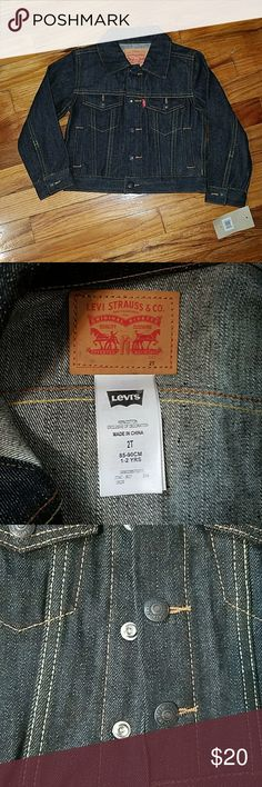 NWT Levi's denim jacket NWT Levi's size 2T dark wash denim jacket.  Has snap buttons up the jacket. Levi's Jackets & Coats Jean Jackets