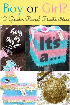 Lots of details here on how to make your own DIY gender reveal pinata or where to buy a baby gender reveal pinata during your pregnancy in order to announce the sex of your unborn child. Gender Reveal Pinata, Twin Gender Reveal, Gender Reveal Announcement, Baby Shower Gender Reveal, Baby Gender, How To Make Pinata, Reveal Parties, Baby Party, Party Themes