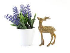 Vintage Brass Deer Figurine - Brass Figurine - Brass Deer - Reindeer Figurine - Deer decor - Collectible Deer - Bambi figurine