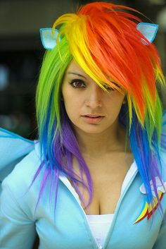 Check Out Our , My Little Pony Rainbow Dash Multi Color Cosplay Party Wig Dash Multi, Little Dashie My Little Pony Fanart is Magic, 2019 Alternate Hairstyle Artist Cap Clothes. Hair Dye Colors, Cool Hair Color, Rainbow Dash Costume, Pelo Emo, Glitter Beards, Glitter Tattoos, Color Fantasia, Coloured Hair, Maquillage Halloween