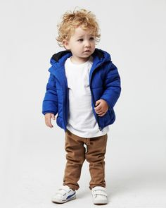the ARCTIC CONVERTIBLE puffer, available in rust & royal in ages 0 - 14. the PIGMENT BASIC CREW tee, available in ages 0 - 14. the CASTILLO chino, available in tomato & tobacco in ages 0 - 2. www.industriekids.com.au