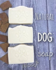 Natural dog soap Natural dog shampoos and soaps are often expensive, so why not make your own? The natural ingredients in this mild cleansing dog soap will keep your dog's coat looking healthy and shiny witho… Natural Dog Shampoo, Homemade Soap Recipes, Dog Recipes, Goat Milk Soap, Cold Process Soap, Soap Molds, Home Made Soap, Mild Soap, Dog Supplies
