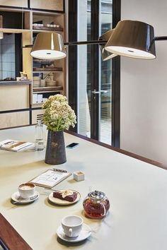 Marset -Tam Tam 4 suspension lamp by Fabien Dumas at Hotel Brummell in Barcelona Dining Room Lighting, Cool Lighting, Modern Lighting, Ceiling Lighting, Lighting Ideas, Lighting Design, Industrial Style Lighting, Industrial Lamps, Vintage Industrial