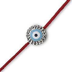 Hammered 18K White Gold Small, Evil Eye Red Cord Bracelet, Light Blue Enamel, No Diamonds | Fredric H. Rubel Jewelers