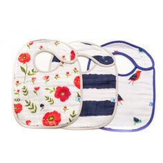 Summer Poppy - Pack - These adorable bibs put a fresh, new print on a timeless style.  With 3 layers of 100% cotton muslin, these bibs are sure to take care of any messes - and then pop them in the washing machine and they come out as good as new! BabyCubby.com