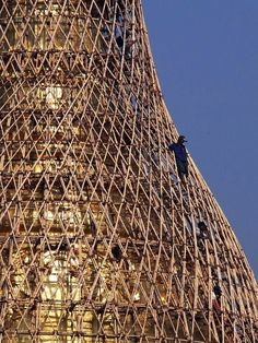 In some parts of Asia, scaffolding is made of bamboo and is even used when building very tall skyscrapers. Treciourous times call for Desparate measures Bamboo Architecture, Amazing Architecture, Architecture Details, Landscape Architecture, Bamboo Building, Bamboo Structure, Bamboo Art, Bamboo House, Bamboo Design