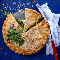 This vegetarian friendly spiced potato and spinach pie is also delicious as mini individual pies for a picnic.