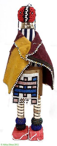 Ndebele Beaded Doll In Traditional Costume with Blanket South Africa..