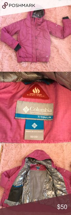 NWOT - Columbia Titanium winter ski snow jacket Never worn! Brand new without tags. Size 18-20 Girls awesome winter jacket. Fits a woman size Small-Medium! Columbia Titanium thermal comfort. Omni-heat thermal reflective and insulated. Omni-shield advanced repellency. Adjustable storm hood. Interior security pocket, headphone hole.  Zippered hand pockets. Water repellent with full protection with the storm hood and adjustable cuffs. Embedded Omni-Heat technology insulates heat. Nylon attached…