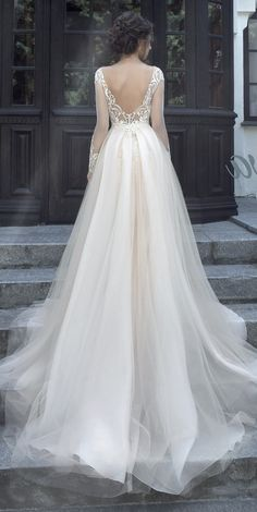 Wedding Gown Glamorous ballgown wedding dress with v-shaped back design; Wedding Dress Sleeves, Bridal Wedding Dresses, Dream Wedding Dresses, Tulle Ballgown Wedding Dress, Long Sleeved Wedding Dresses, Bridesmaid Dresses, Long Sleeve Ballgown, Shear Wedding Dress, Lace Sleeves
