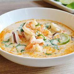 "The Best Thai Coconut Soup | ""This was wonderful! So rich and flavorful, and fairly easy to prepare. I could eat the delicious, rich broth by itself, but the shrimp and mushrooms add a wonderful flavor and texture."""