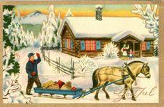Julekort George Schumann Børrehaug & Remen brukt 1952