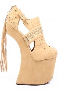NUDE FAUX SUEDE STUDS TASSEL HEELLESS ULTRA HIGH PLATFORM WEDGE