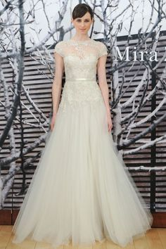 Mira Zwillinger Spring 2015 Tulle Wedding Dress with Short Sleeves