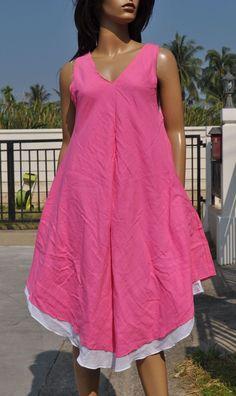 Dt19 Summer Boho beach vintage dress Cotton v neck 2 layer sundress Solid M L XL   eBay
