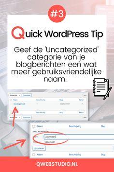 Quick WordPress Tip #3 Je kunt je blogberichten in WordPress onderverdelen in categorieën, wat superhandig is! Maar als je zelf geen categorie toewijst, dan komt hij automatisch in de 'Uncategorized' categorie. En dat staat natuurlijk best slordig in je blogoverzicht en in je bericht zelf. Je kunt deze categorie ook niet verwijderen Wél wijzigen gelukkig... Meer tips & Inspiratie? Map, Stuff Stuff, Location Map, Maps