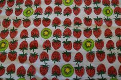 Strawberry Kiwi Flannel / Strawberry flannel fabric/Kiwi Flannel fabric/ Fruit fabric/ Fruit flannel fabric by HomemadeSunFabrics on Etsy