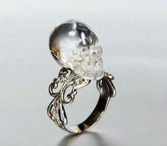 Beautiful ornate crystal Skull Ring