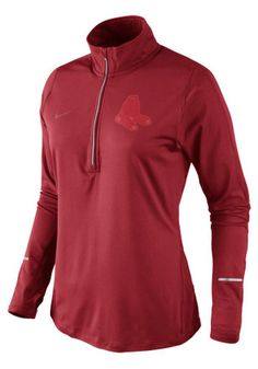 best value c7ae1 d13a6 Nike Boston Womens Dri-Fit Element Red 1 4 Zip Performance Pullover Red Sox