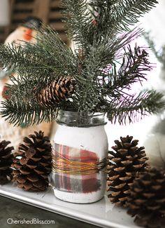 Metallic Wire Wrapped Christmas Mason Jar - Cherished Bliss