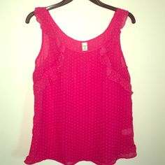 Medium Old Navy sheer pink shirt This is perfect and in brand-new condition and was never worn. It is pink with white polkadots and a little ruffle. This would look great with a cardigan and is super light for the summer. I ship same day and discount bundles! Old Navy Tops Blouses