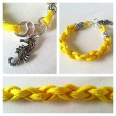 A more feminine approach to the typical Paracord Bracelets,    This one of a kind parcord charm bracelet is weaved with a vibrant yellow paracord.  Complimented with beautiful silver beads & a nautical sea horse charm.