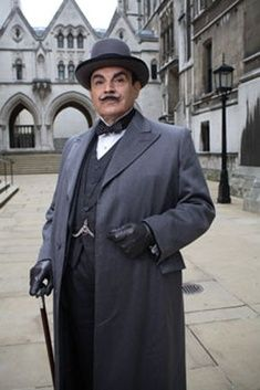 Hercule Poirot (David Suchet) is working those little grey cells in mysteries by Agatha Christie. The Belgian detective Poirot! Hercule Poirot, Agatha Christie's Poirot, Miss Marple, Sherlock Holmes, David Suchet, Masterpiece Theater, Tv Detectives, Bbc Tv, Cozy Mysteries