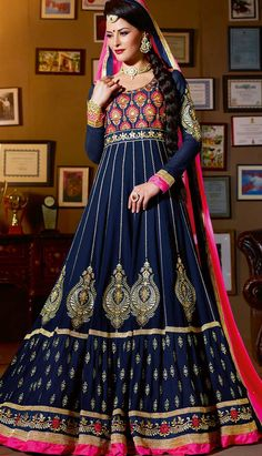 Get Online Indian Traditional Cream Georgette #AnarkaliDresses with Latest Design.  #Price INR- 8024 Link- http://alturl.com/47w2i