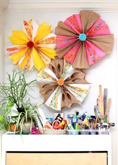 DIY Marbled Paper Bag Party Stars by Jennifer Perkins.  Two for one - learn how to make a hanging star from paper bags AND how to marble them!