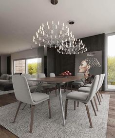 Modern Dining Room Ideas – Modern style design has clean lines and curves, without clutter. Dining Room Lamps, Luxury Dining Room, Accent Chairs For Living Room, Dining Table Chairs, Dining Room Design, Room Chairs, Dining Rooms, Home Interior, Interior Architecture