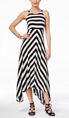 INC International Concepts Striped Handkerchief-Hem Maxi Dress
