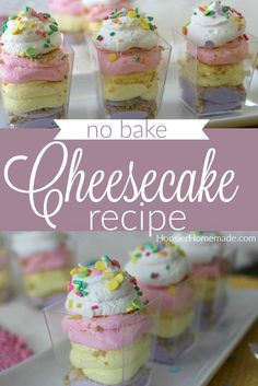 No Bake Cheesecake Recipe - a simple cheesecake recipe with only 3 ingredients. Use it in a pan, pie or dessert glass. Easy No Bake Cheesecake, Baked Cheesecake Recipe, Keto Cheesecake, No Bake Desserts, Easy Desserts, Dessert Recipes, Holiday Desserts, Pie Recipes, Homemade Donuts