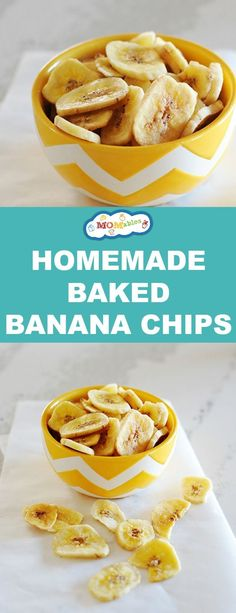 Baked Banana Chips Want to know how to make healthy banana chips? In the oven of course! Turn over-ripe bananas into a delicious snack.Want to know how to make healthy banana chips? In the oven of course! Turn over-ripe bananas into a delicious snack. Homemade Banana Chips, Dehydrated Banana Chips, Baked Banana Chips, Banana Bread, Baked Chips, Homemade Chips In Oven, Healthy Banana Recipes, Banana Snacks, Healthy Chips