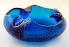 Blue Crackle vintage glass ashtray