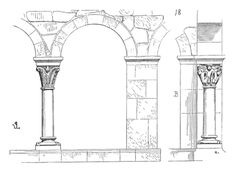 Dictionary of French architecture from the eleventh to the sixteenth century / Cloister - Wikisource Gothic Architecture Drawing, French Architecture, Architecture Graphics, The Eleven, France, Medieval, Sketches, Outdoor Structures, Pencil